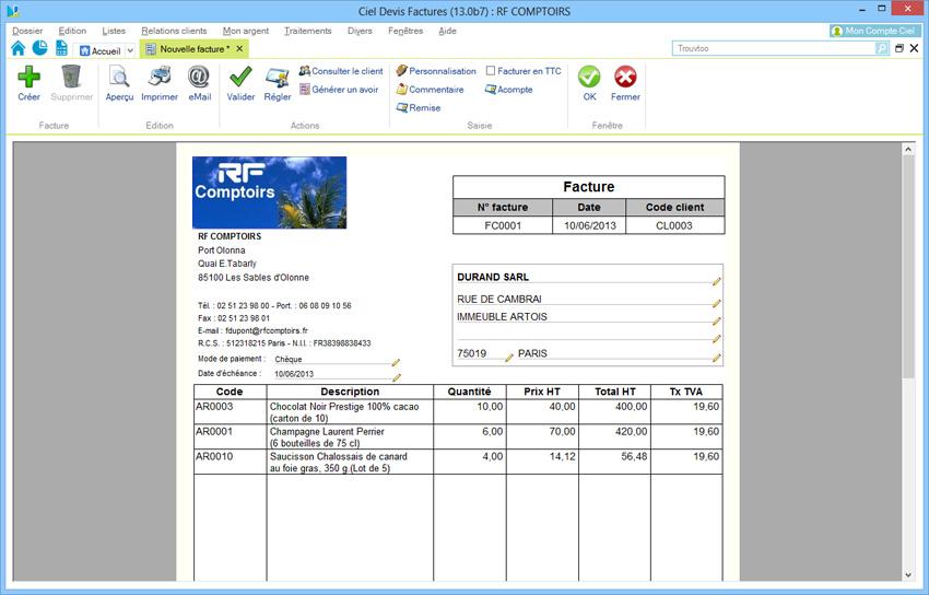 Ciel devis factures 2015 acheter et t l charger sur Devis artisans