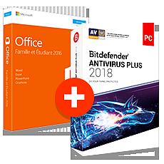 Pack Office Famille et Etudiant 2016 + Bitdefender Antivirus Plus 2018