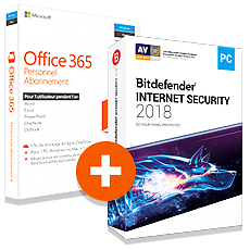 Pack Office 365 Personnel + Bitdefender Internet Security 2018