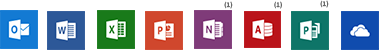 Outlook, Word, Excel, PowerPoint, OneNote, Access, Publisher, OneDrive Entreprise