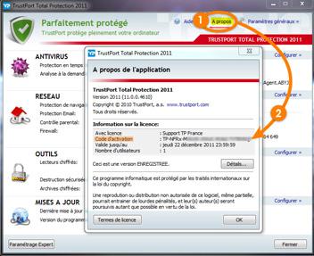 Cliquez sur « A propos » dans l'interface principale TrustPort, La clé de licence apparait alors en clair dans la fenêtre ouverte, sur la ligne « Code d'activation ».